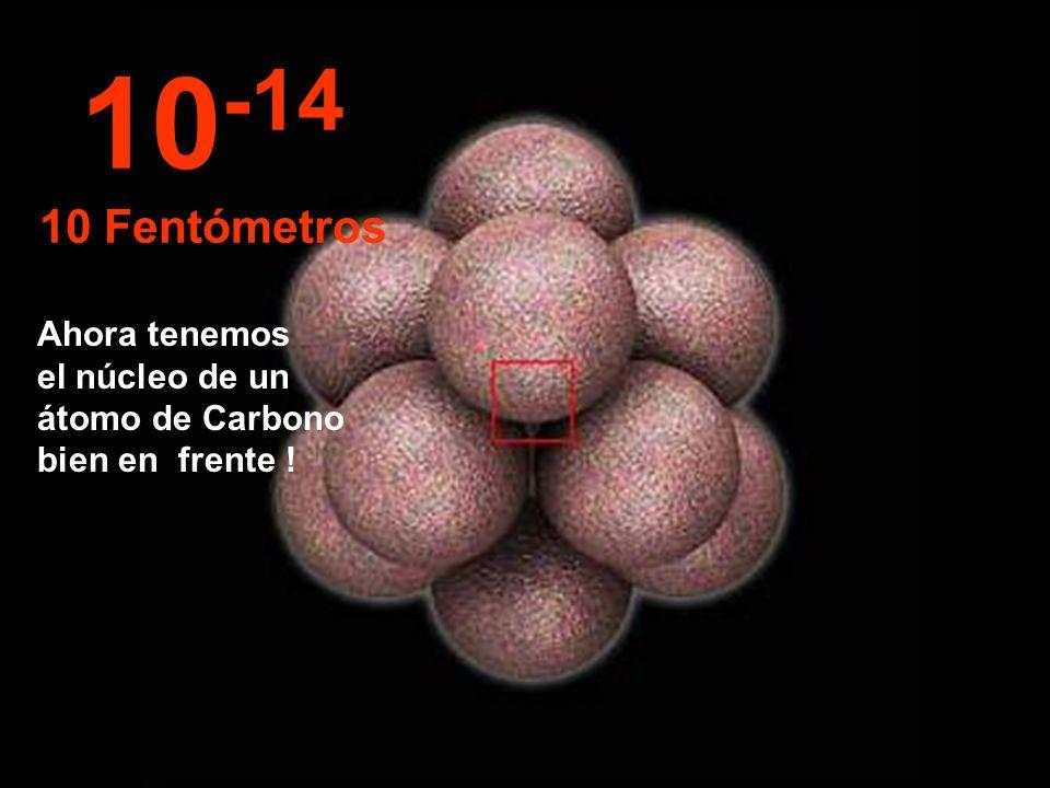 10-14 10 Fentómetros Ahora tenemos el núcleo de un átomo de Carbono bien en frente !