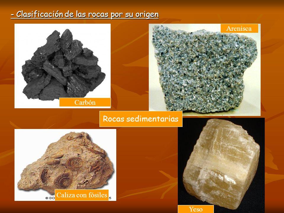 - Clasificación de las rocas por su origen