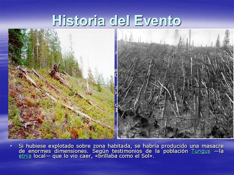 Historia del Evento El bólido —de unos 80 metros de diámetro— detonó en el aire.
