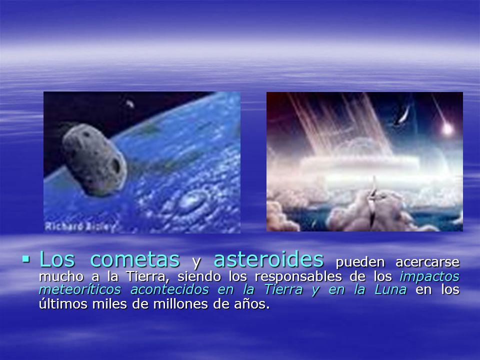 Los cometas y asteroides pueden acercarse mucho a la Tierra, siendo los responsables de los impactos meteoríticos acontecidos en la Tierra y en la Luna en los últimos miles de millones de años.