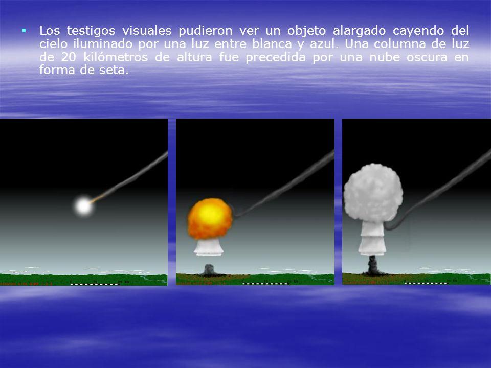 Los testigos visuales pudieron ver un objeto alargado cayendo del cielo iluminado por una luz entre blanca y azul.