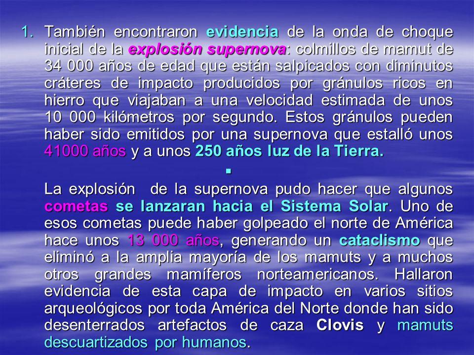 También encontraron evidencia de la onda de choque inicial de la explosión supernova: colmillos de mamut de 34 000 años de edad que están salpicados con diminutos cráteres de impacto producidos por gránulos ricos en hierro que viajaban a una velocidad estimada de unos 10 000 kilómetros por segundo. Estos gránulos pueden haber sido emitidos por una supernova que estalló unos 41000 años y a unos 250 años luz de la Tierra.