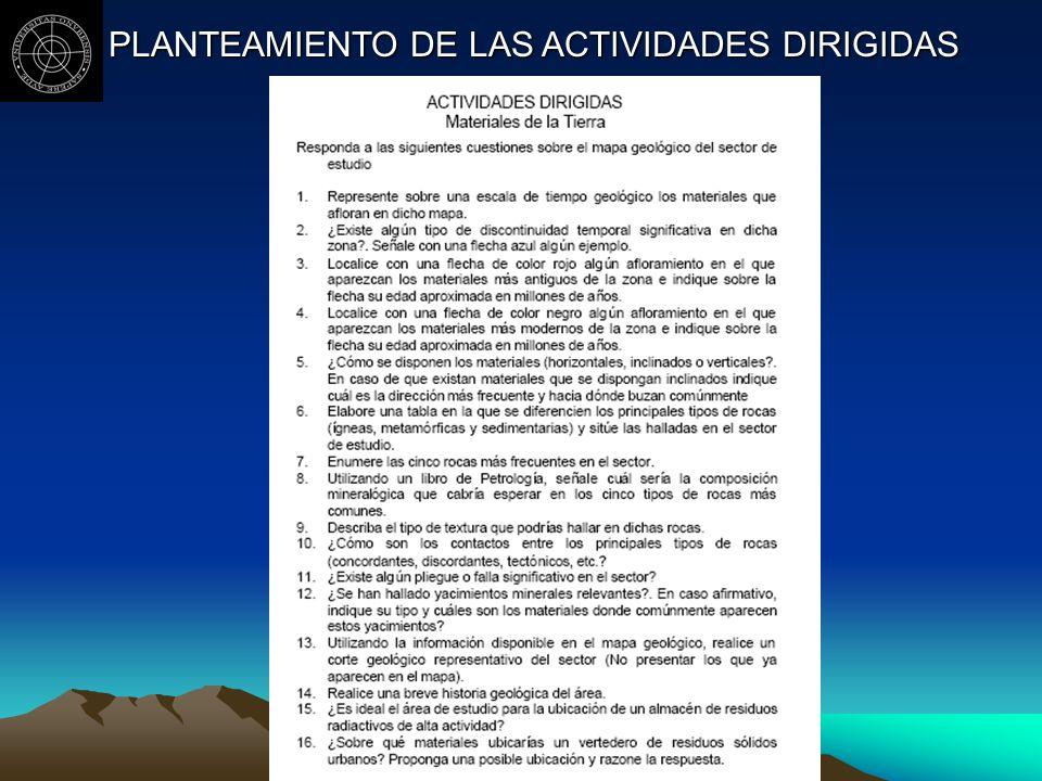 PLANTEAMIENTO DE LAS ACTIVIDADES DIRIGIDAS