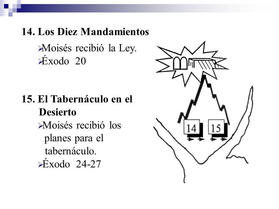 14. Los Diez Mandamientos Moisés recibió la Ley. Éxodo 20. 15. El Tabernáculo en el Desierto.