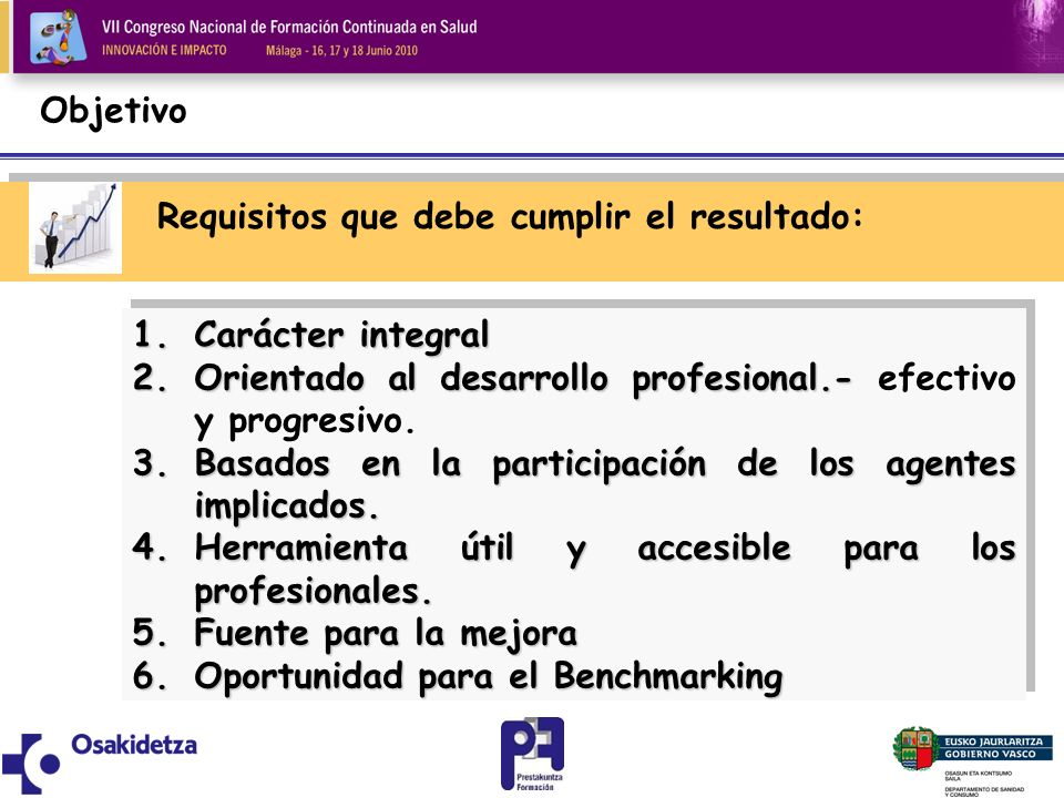 Objetivo Requisitos que debe cumplir el resultado: Carácter integral. Orientado al desarrollo profesional.- efectivo y progresivo.