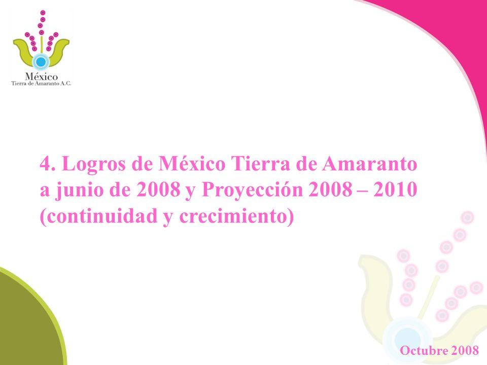 4. Logros de México Tierra de Amaranto a junio de 2008 y Proyección 2008 – 2010 (continuidad y crecimiento)