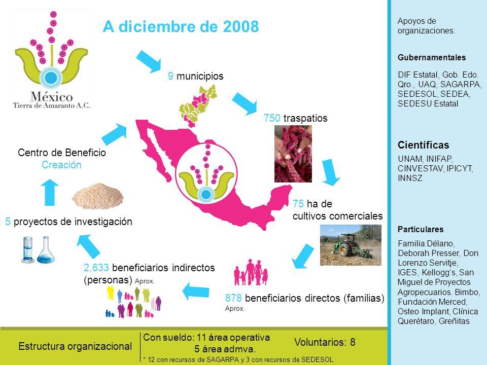 A diciembre de 2008 9 municipios 750 traspatios Científicas