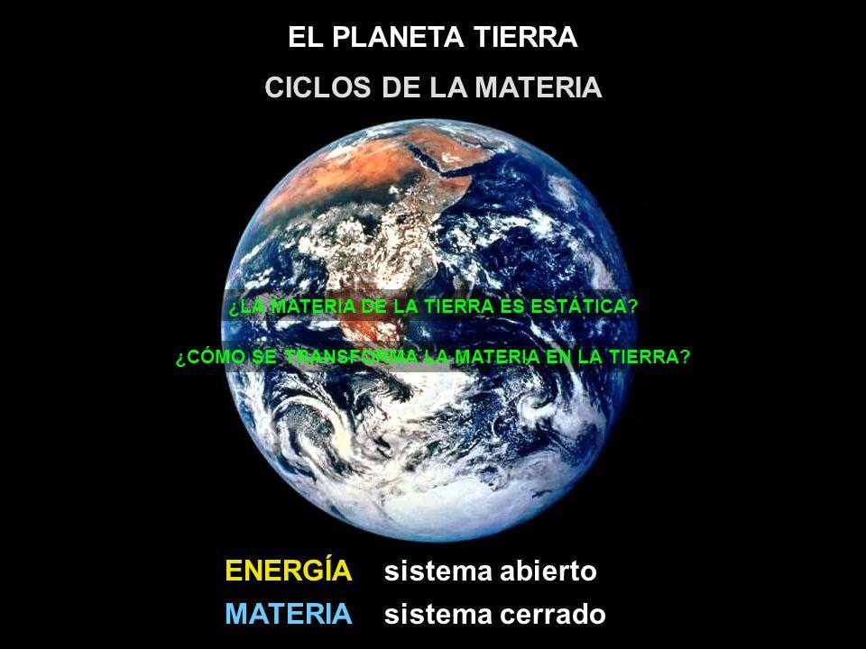CICLOS DE LA MATERIA ENERGÍA sistema abierto MATERIA sistema cerrado