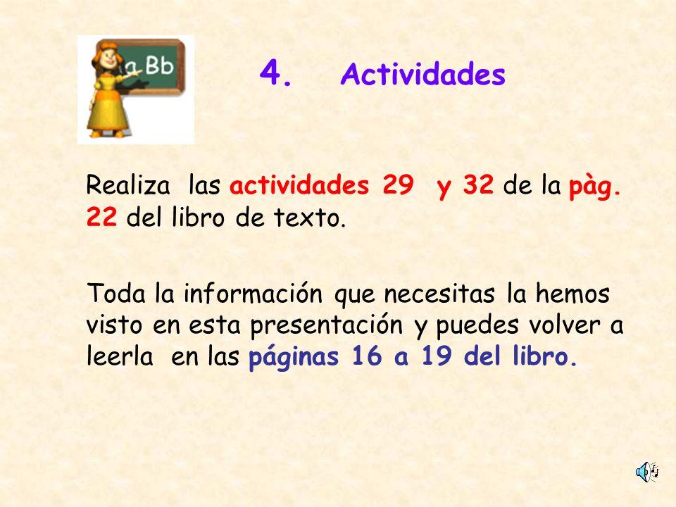4. Actividades Realiza las actividades 29 y 32 de la pàg. 22 del libro de texto.