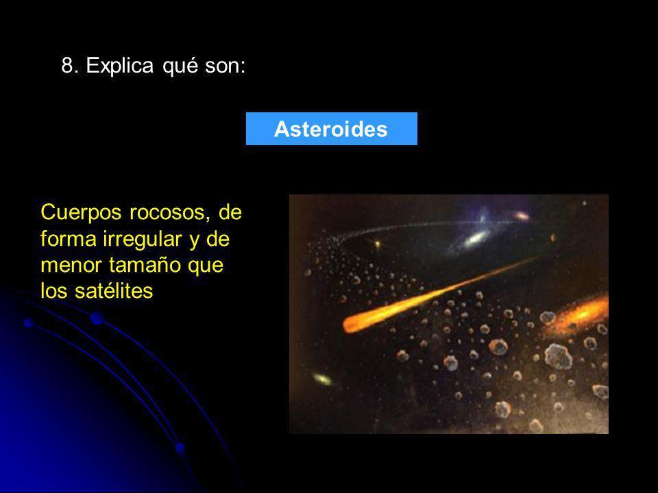 8. Explica qué son: Asteroides.