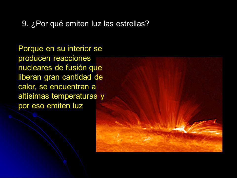 9. ¿Por qué emiten luz las estrellas