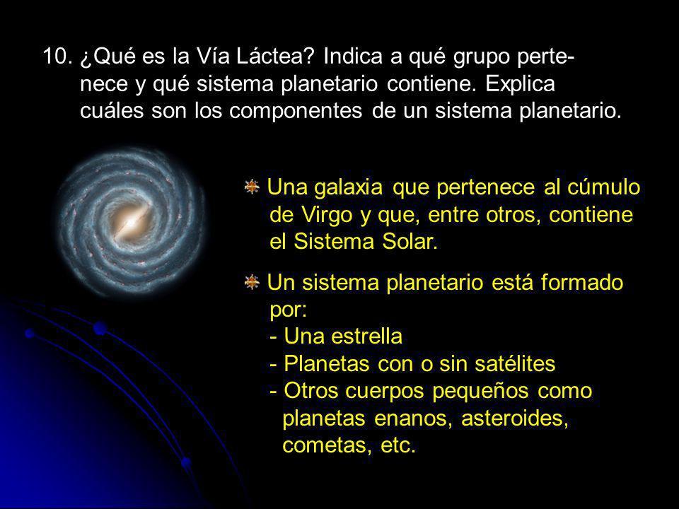10. ¿Qué es la Vía Láctea Indica a qué grupo perte- nece y qué sistema planetario contiene. Explica cuáles son los componentes de un sistema planetario.