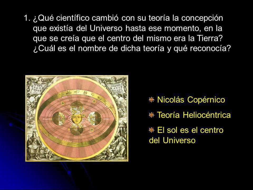 1. ¿Qué científico cambió con su teoría la concepción que existía del Universo hasta ese momento, en la que se creía que el centro del mismo era la Tierra ¿Cuál es el nombre de dicha teoría y qué reconocía