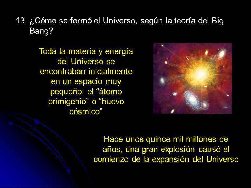 13. ¿Cómo se formó el Universo, según la teoría del Big Bang