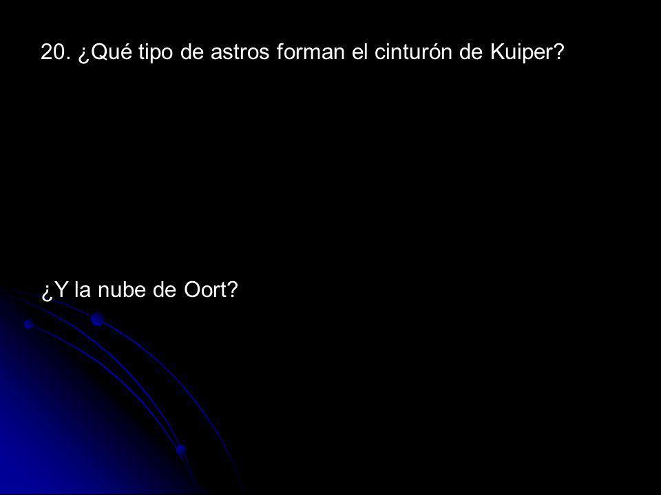 20. ¿Qué tipo de astros forman el cinturón de Kuiper