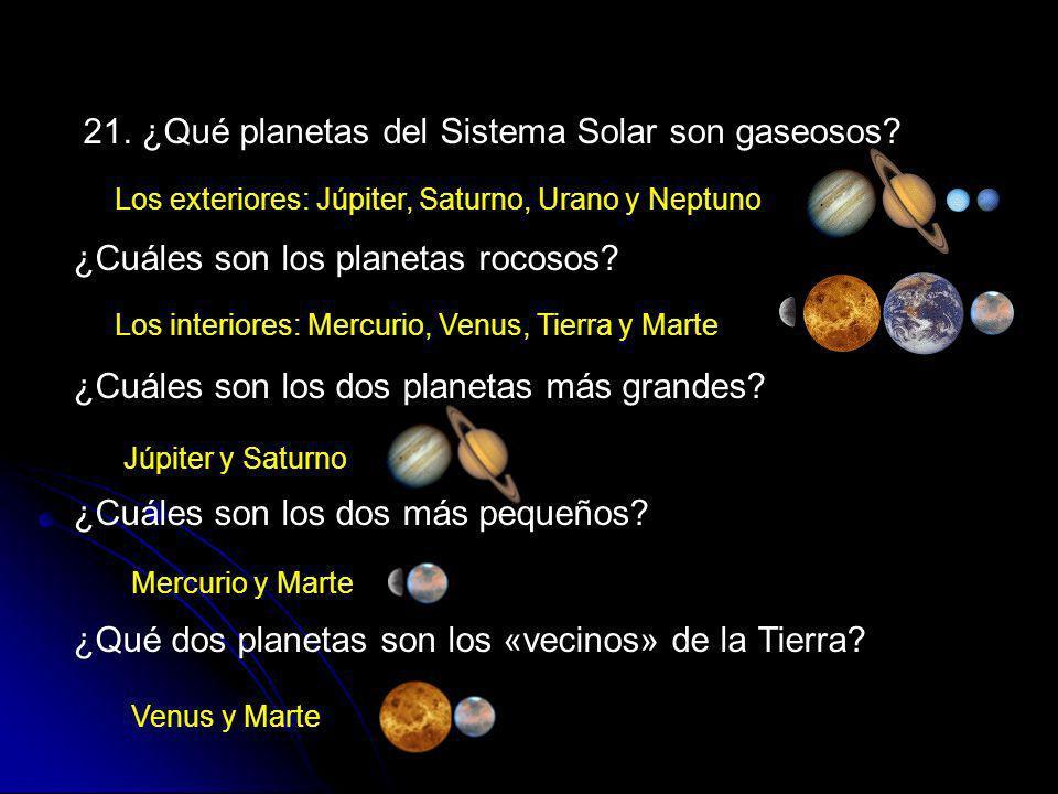 21. ¿Qué planetas del Sistema Solar son gaseosos