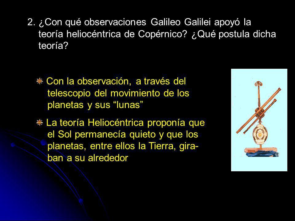 2. ¿Con qué observaciones Galileo Galilei apoyó la teoría heliocéntrica de Copérnico ¿Qué postula dicha teoría