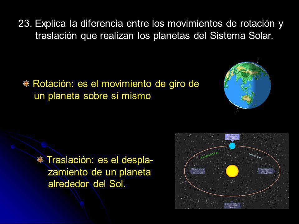 23. Explica la diferencia entre los movimientos de rotación y traslación que realizan los planetas del Sistema Solar.