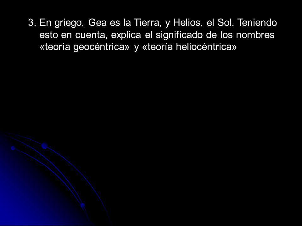 3. En griego, Gea es la Tierra, y Helios, el Sol