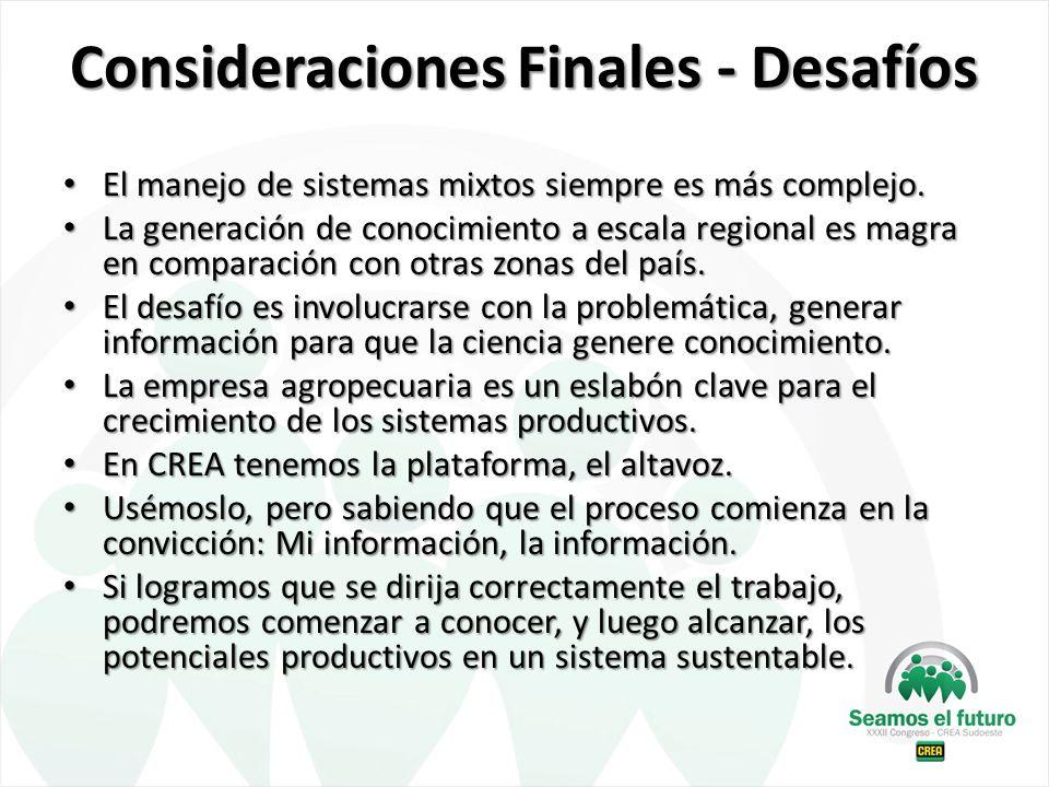 Consideraciones Finales - Desafíos