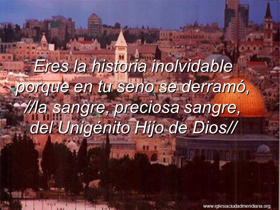 Eres la historia inolvidable porque en tu seno se derramó, //la sangre, preciosa sangre, del Unigénito Hijo de Dios//