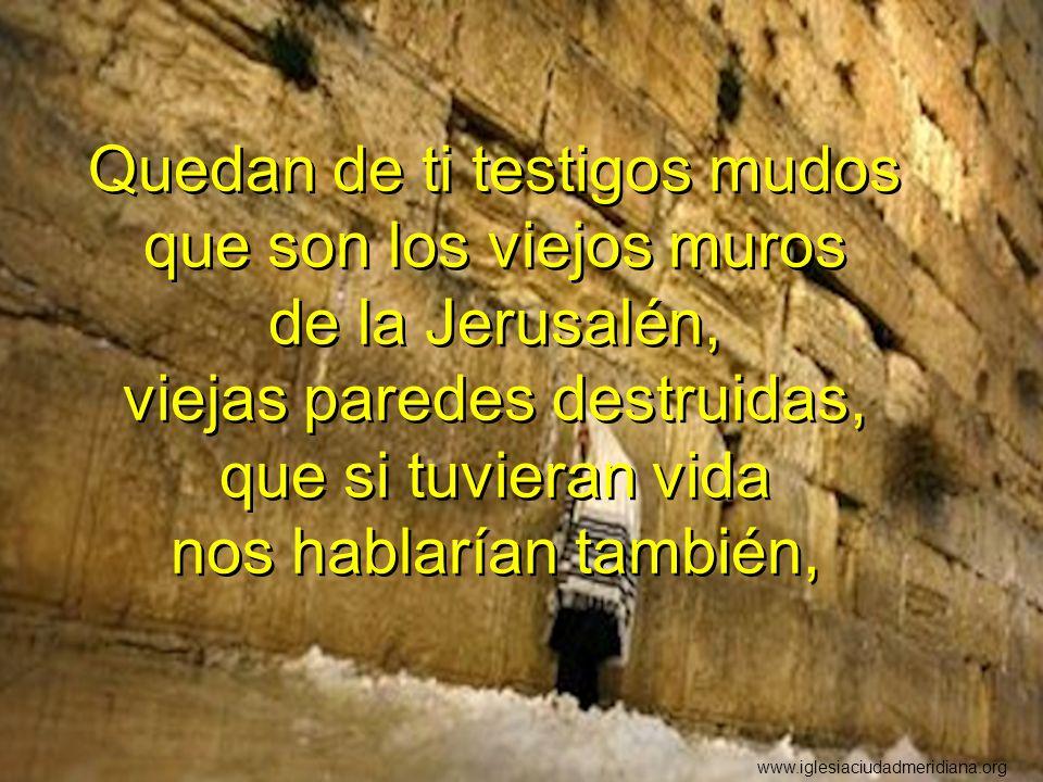 Quedan de ti testigos mudos que son los viejos muros de la Jerusalén, viejas paredes destruidas, que si tuvieran vida nos hablarían también,