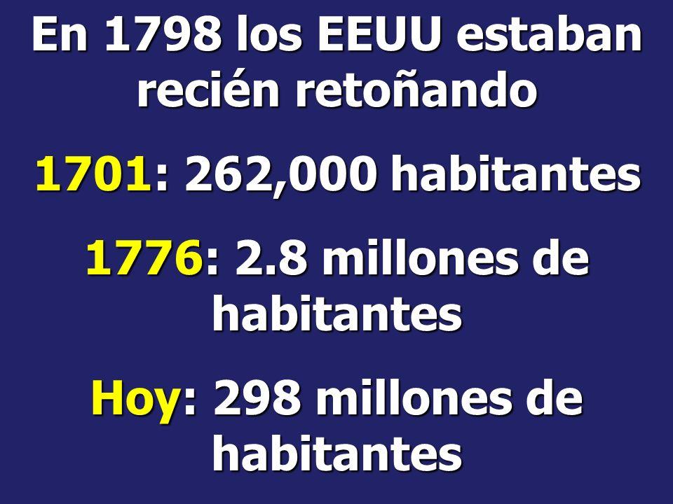 En 1798 los EEUU estaban recién retoñando 1701: 262,000 habitantes