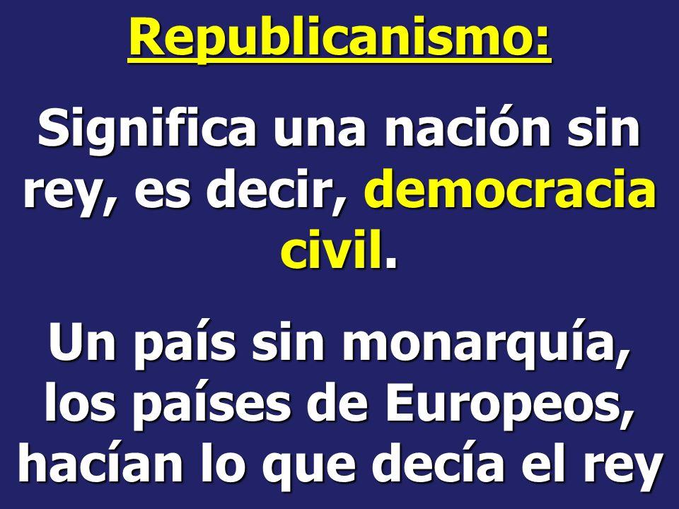 Significa una nación sin rey, es decir, democracia civil.