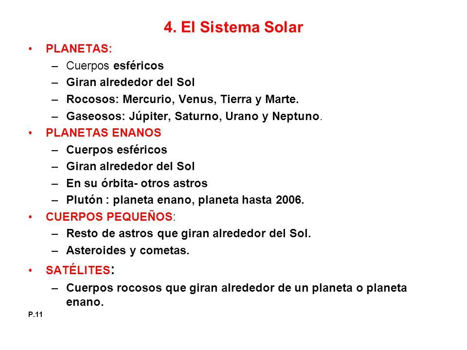4. El Sistema Solar PLANETAS: Cuerpos esféricos