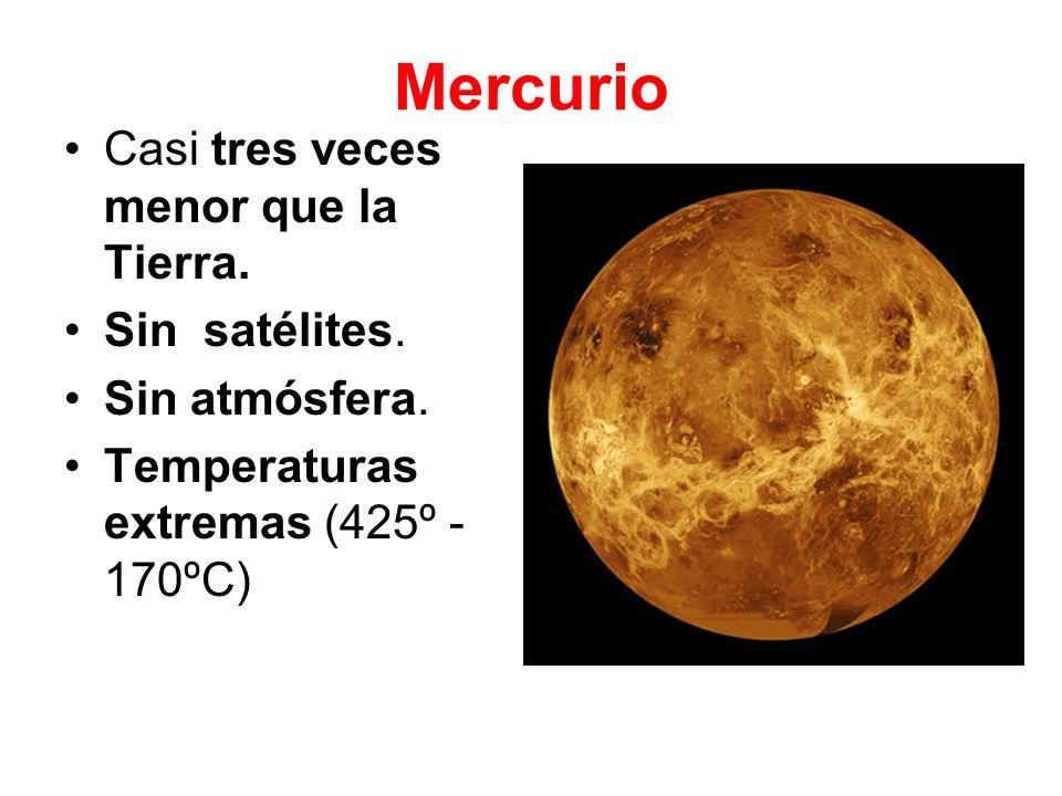 Mercurio Casi tres veces menor que la Tierra. Sin satélites.