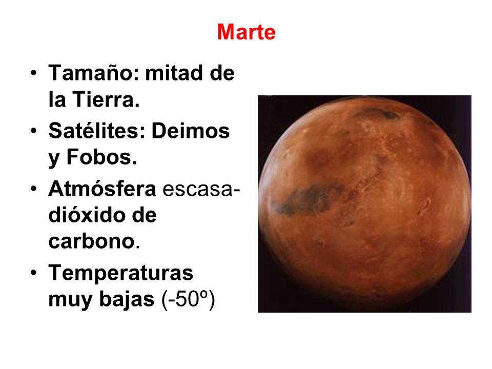 Marte Tamaño: mitad de la Tierra. Satélites: Deimos y Fobos. Atmósfera escasa-dióxido de carbono.