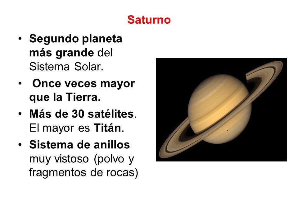 Saturno Segundo planeta más grande del Sistema Solar. Once veces mayor que la Tierra. Más de 30 satélites. El mayor es Titán.
