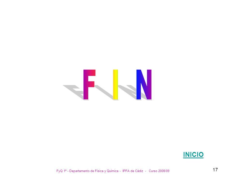 F I N INICIO FyQ 1º - Departamento de Física y Química - IPFA de Cádiz - Curso 2008/09
