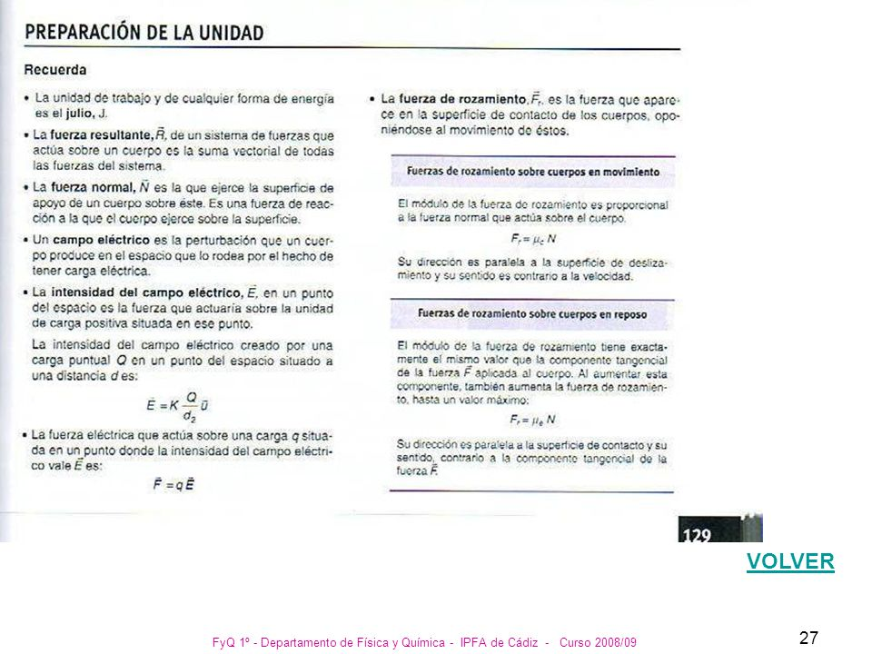 VOLVER FyQ 1º - Departamento de Física y Química - IPFA de Cádiz - Curso 2008/09
