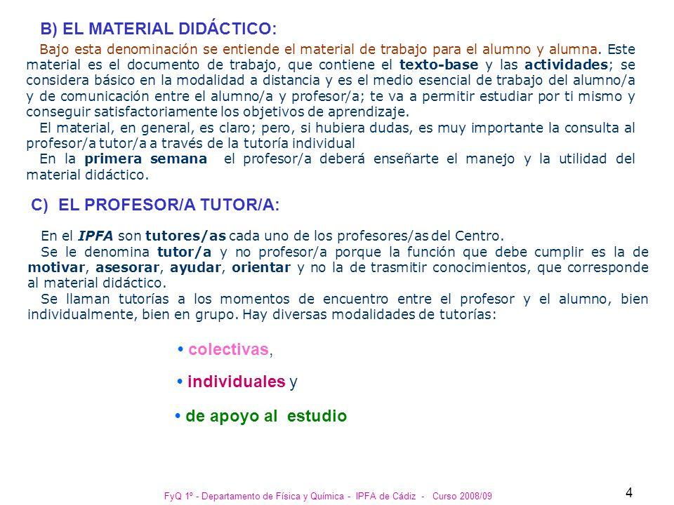 B) EL MATERIAL DIDÁCTICO:
