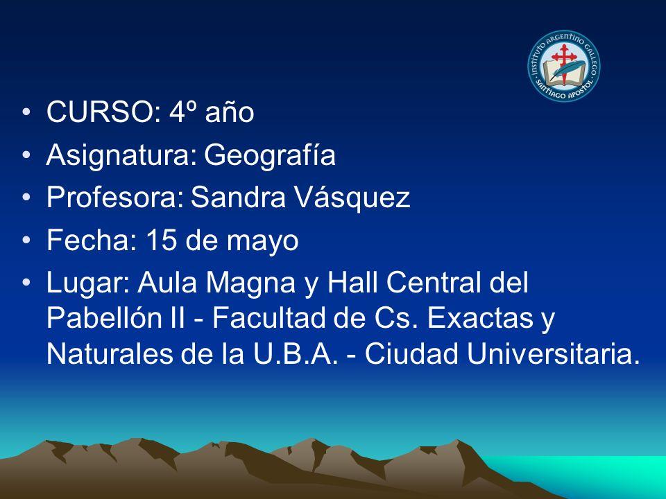CURSO: 4º año Asignatura: Geografía. Profesora: Sandra Vásquez. Fecha: 15 de mayo.