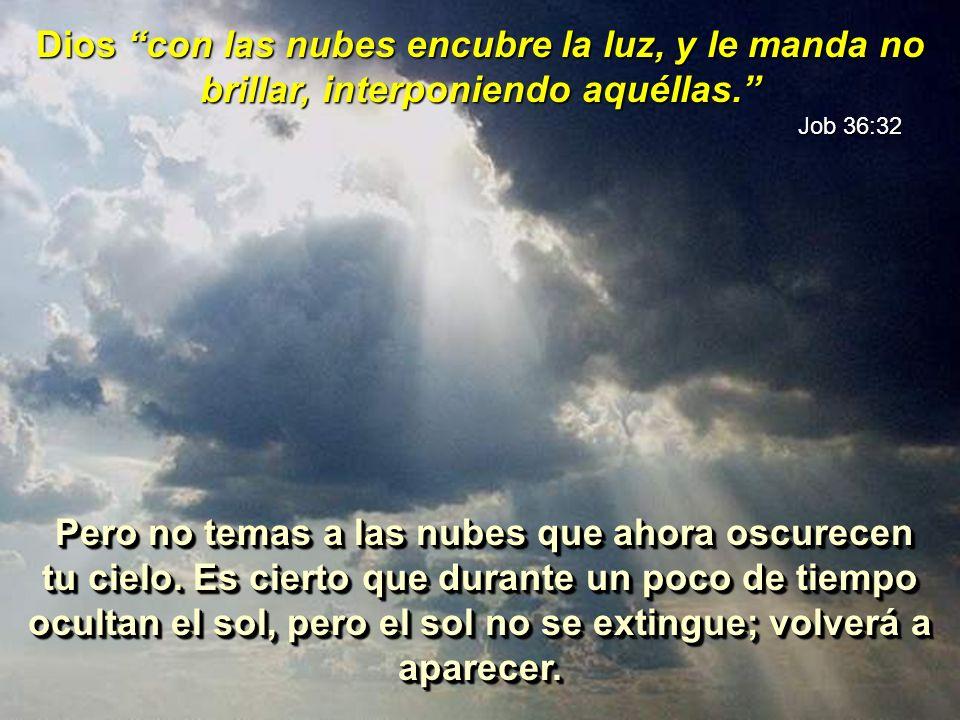 Dios con las nubes encubre la luz, y le manda no brillar, interponiendo aquéllas. Job 36:32