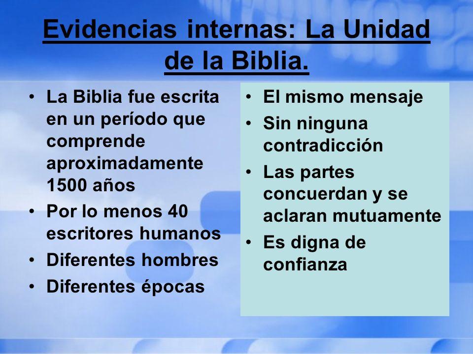 Evidencias internas: La Unidad de la Biblia.