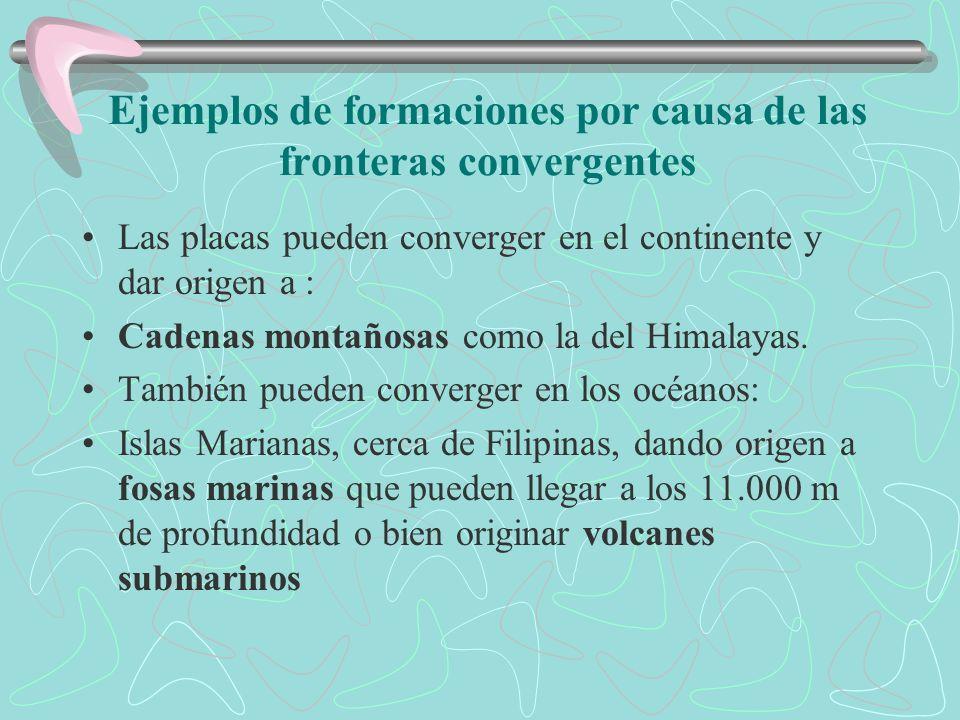 Ejemplos de formaciones por causa de las fronteras convergentes