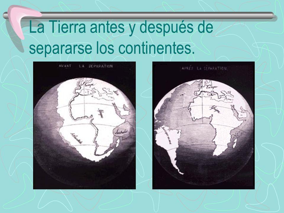 La Tierra antes y después de separarse los continentes.