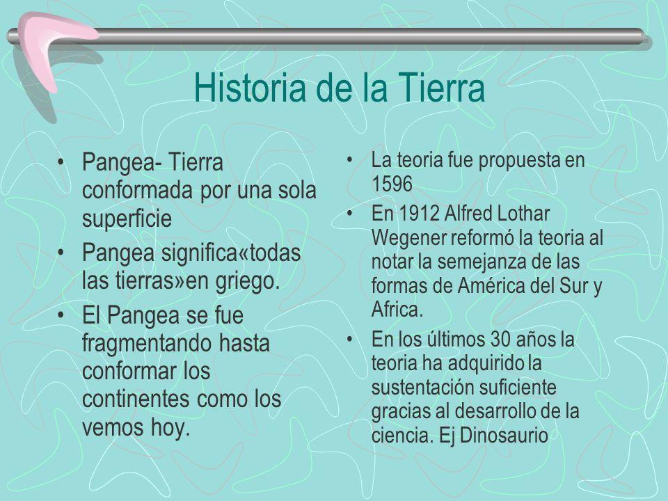 Historia de la Tierra Pangea- Tierra conformada por una sola superficie. Pangea significa«todas las tierras»en griego.