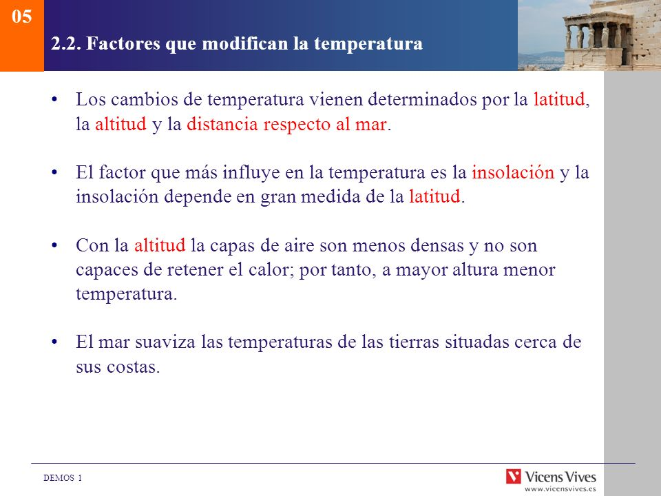 2.2. Factores que modifican la temperatura