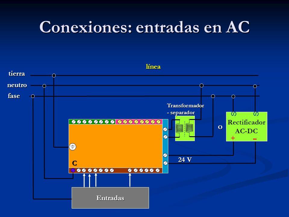 Conexiones: entradas en AC