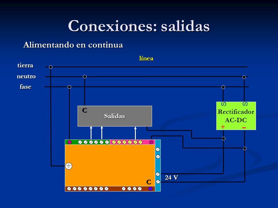 Conexiones: salidas Alimentando en continua línea tierra neutro fase S