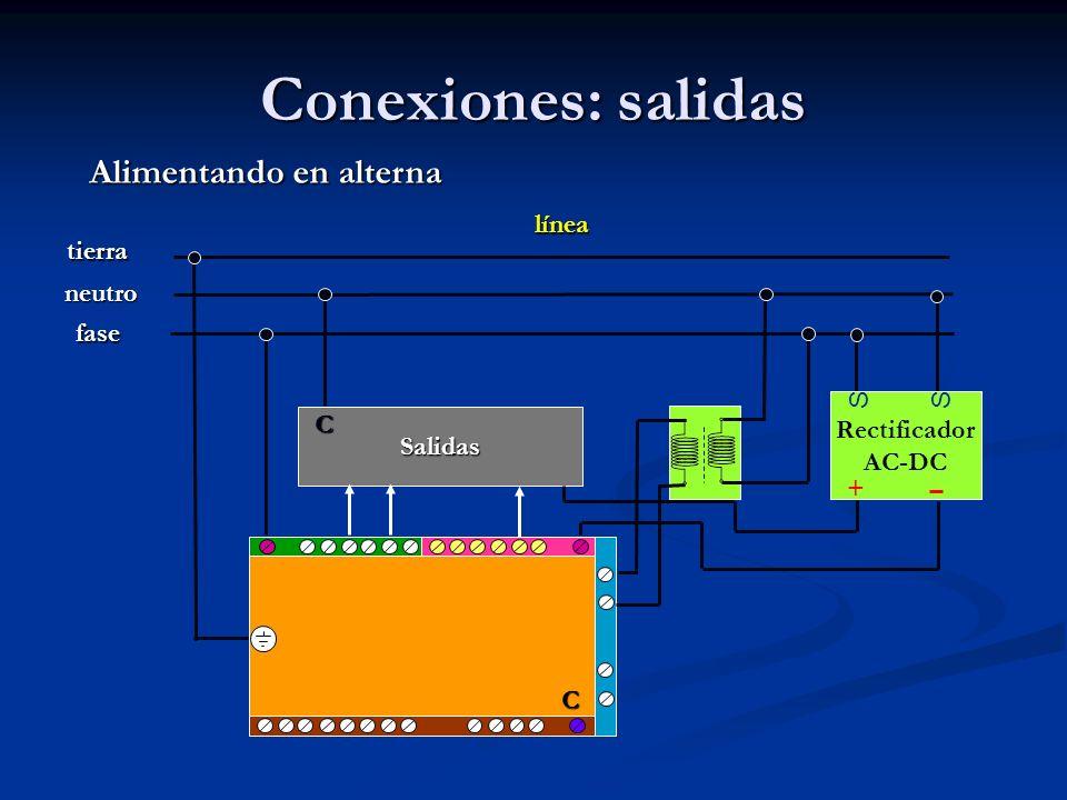 Conexiones: salidas Alimentando en alterna línea tierra neutro fase S