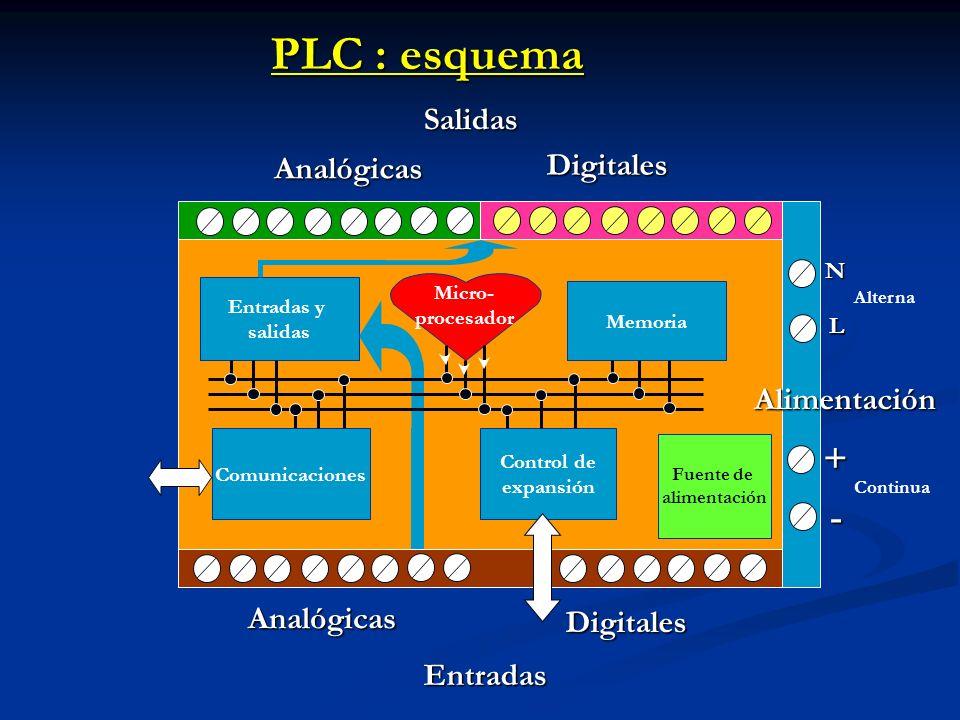 PLC : esquema + - Salidas Digitales Analógicas Alimentación Analógicas