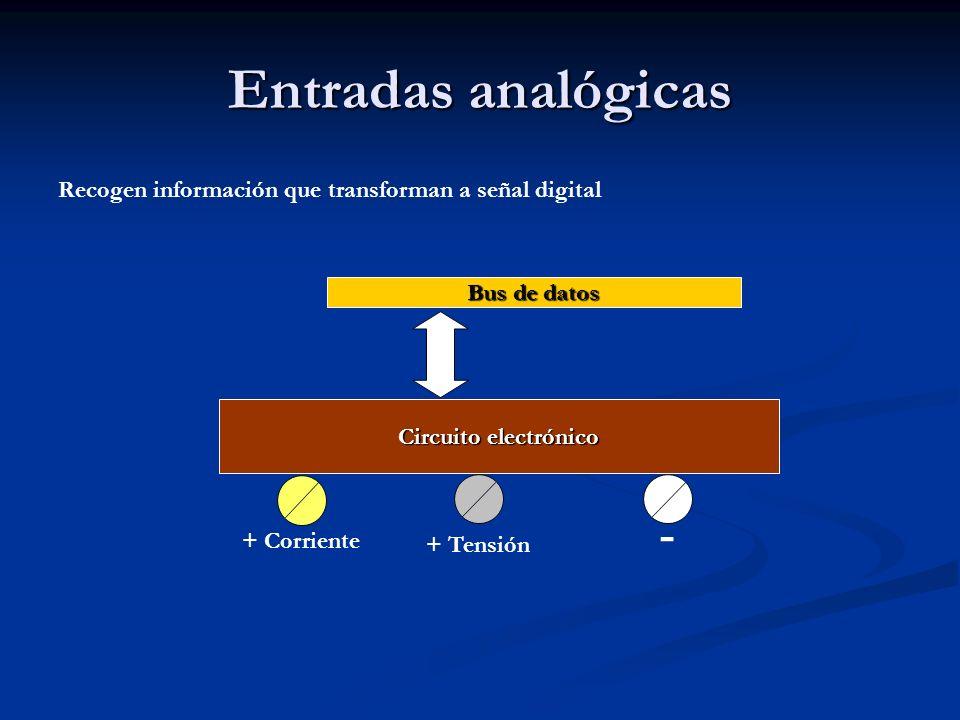 Entradas analógicas Recogen información que transforman a señal digital. Bus de datos. Circuito electrónico.