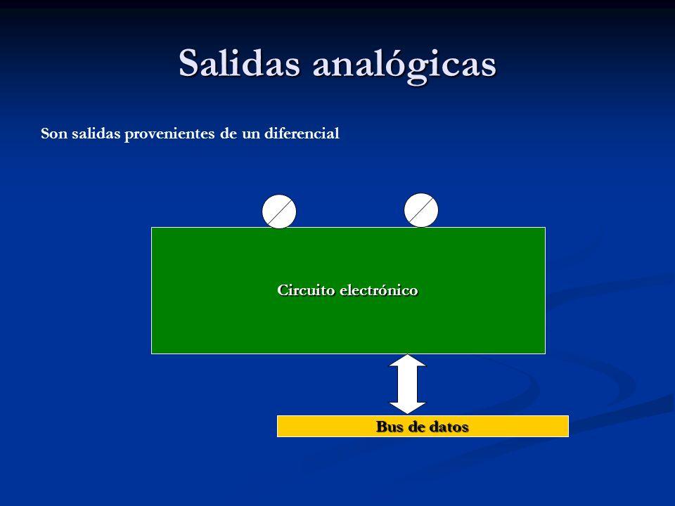 Salidas analógicas Son salidas provenientes de un diferencial