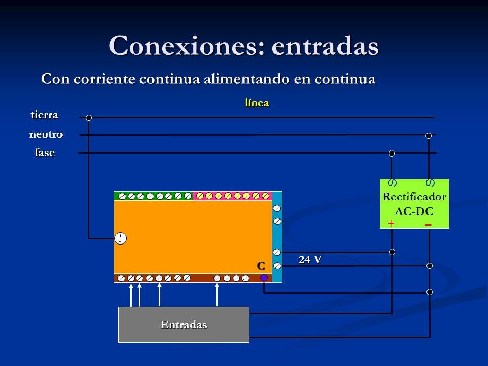 Conexiones: entradas Con corriente continua alimentando en continua