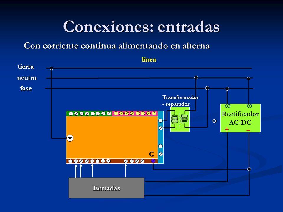 Conexiones: entradas Con corriente continua alimentando en alterna